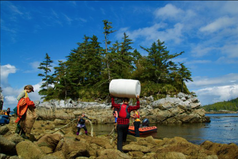 Crew of Columbia III become beach cleaners