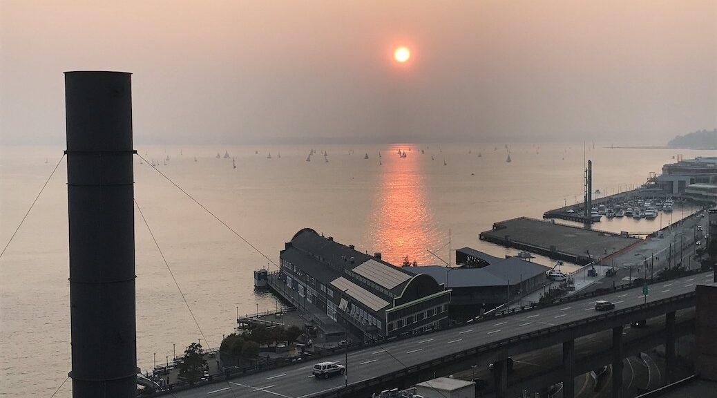 Sunset through the smoke