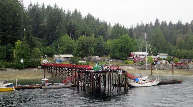 The Squirrel Cove dock as seen from the ocean.