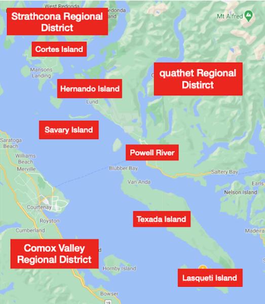 Where the quathet Regional District beach clean-up program operates