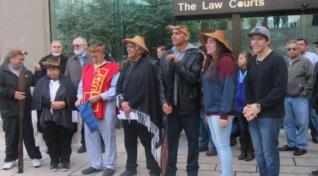 Nuchatlaht First Nation members outside court