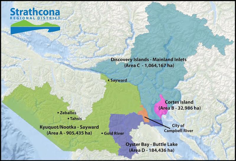Areas involved in the story of Cortes Island's impending cannabis bylaw