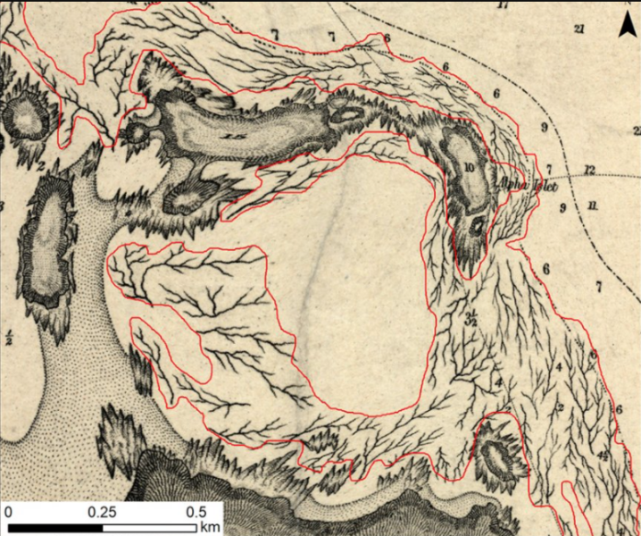 1850s map showing kelp beds