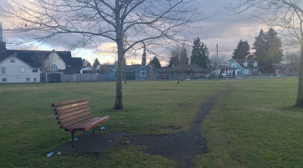 Park bench in Courtenay