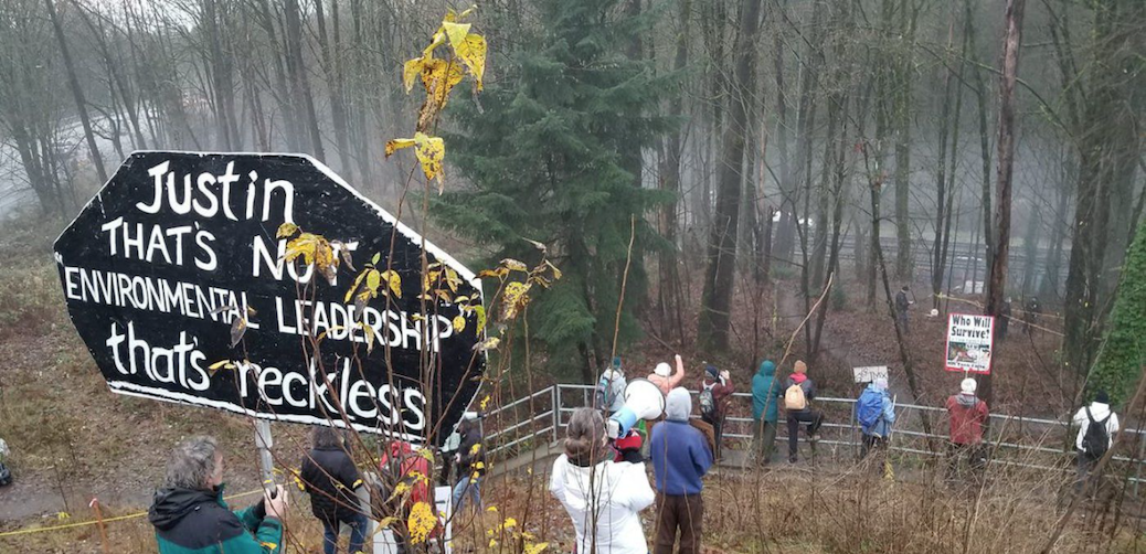 TMX protesters object to the removal of Simon Fraser University health sciences professor Tim Takaro's treehouse on the pipeline route in Burnaby in December 2020.