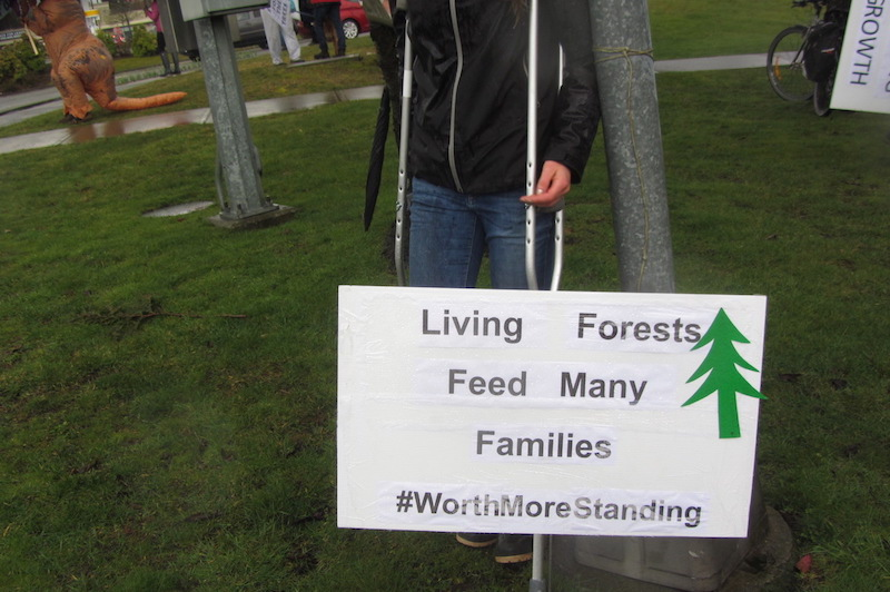 Youth with Living Forests fed many families sign at ForestMarch 2021 in Courtenay