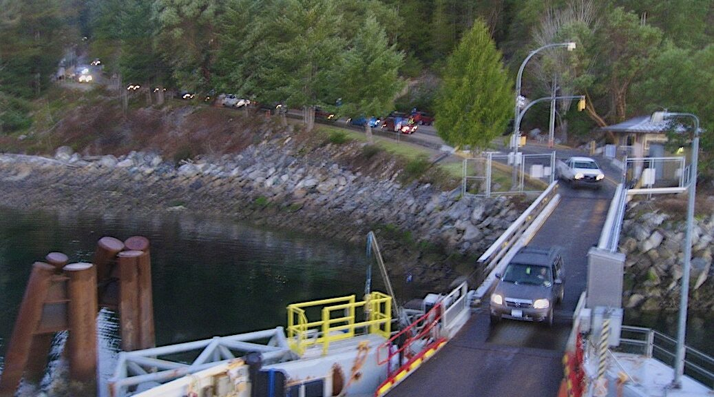 Cars boarding the Cortes-Quadra Island Ferry