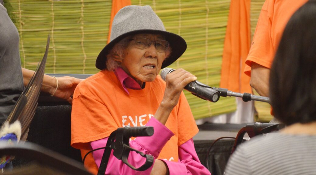 Residential school survivor testifying at oress conference