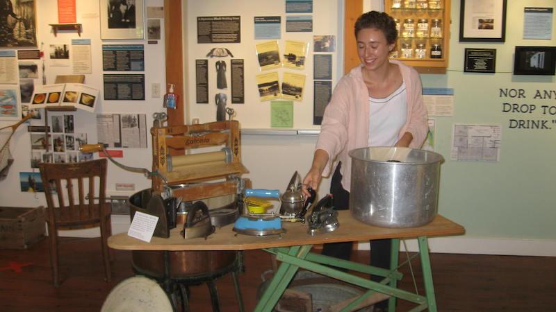 Natalia Nybida in the Cortes Museum on Canada Day