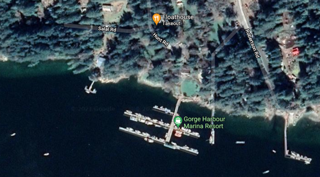 Satellite image of Gorge Harbour Marina, showing locations of both the Marina and Floathouse Restaurant